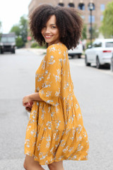 Floral Babydoll Dress in Mustard Side View