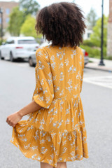 Floral Babydoll Dress in Mustard Back View
