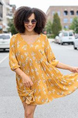 Floral Babydoll Dress in Mustard Front View
