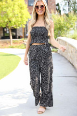 Black - Floral Wide Leg Pants from Dress Up