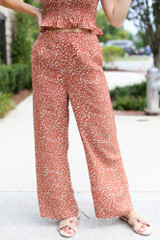 Rust - Close Up of Floral Wide Leg Pants