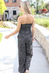 Floral Wide Leg Pants in Black Back View