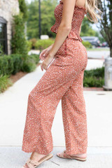 Floral Wide Leg Pants in Rust Side View