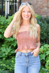 Smocked Floral Crop Top in Rust Front View