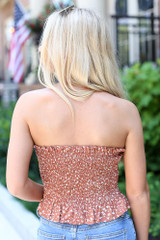 Smocked Floral Crop Top in Rust Back View
