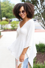 Oversized Tunic in Ivory Side View