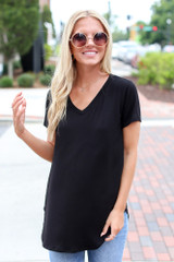 Black - Dress Up model wearing an Ultra Soft V-Neck Tee