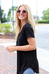Ultra Soft V-Neck Tee in Black Side View
