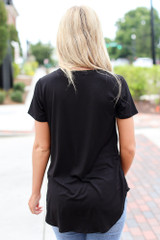Ultra Soft V-Neck Tee in Black Back View