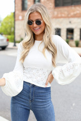 Ivory - Eyelet Statement Sleeve Top from Dress Up
