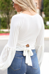 Ivory - Eyelet Statement Sleeve Top Back View