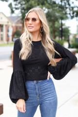 Eyelet Statement Sleeve Top in Black Front View