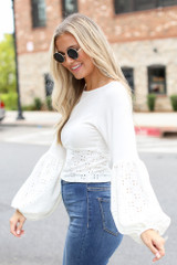Eyelet Statement Sleeve Top in Ivory Side View