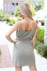 Wrap Button Front Dress Back View