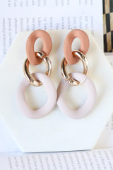 Mauve - Matte Statement Drop Earrings