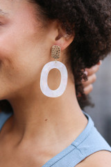 White - Iridescent Statement Earrings