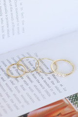 Flat Lay of all 4 rings in the Heart Ring Set
