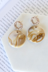 Taupe - Acrylic Statement Earrings