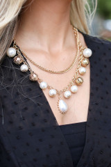 White - Statement Necklace + Earrings Set from Dress Up