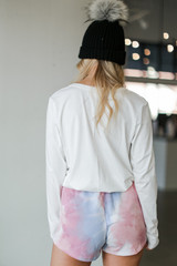 Tie-Dye Lounge Shorts in Pink Back View