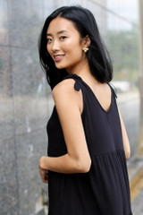 Black - Tiered Tie-Strap Dress from Dress Up