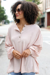 Blush - Oversized Henley Top