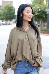 Olive - Model wearing an Oversized Henley Top