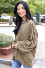 Olive - Dress Up model wearing an Oversized Henley Top