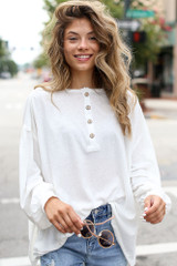 Ivory - Oversized Henley Top Front View