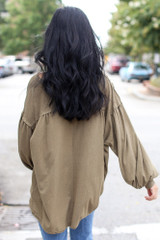 Oversized Henley Top in Olive Back View