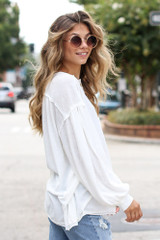 Ivory - Oversized Henley Top in Ivory Side View