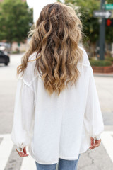 Oversized Henley Top in Ivory Back View