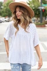 Grey - Striped Babydoll Top from Dress Up