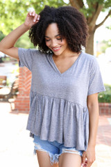 Heather Grey - Knit Babydoll Top from Dress Up