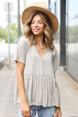 Grey - Dress Up model wearing a Knit Babydoll Top with denim shorts