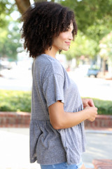 Knit Babydoll Top in Heather Grey Side View