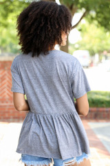 Knit Babydoll Top in Heather Grey Back View
