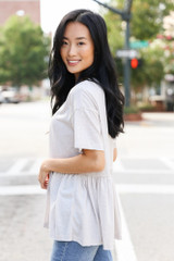 Knit Babydoll Top in Ivory Side View