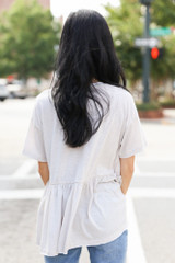Knit Babydoll Top in Ivory Back View