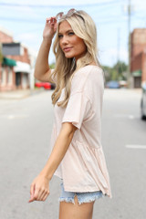 Knit Babydoll Top in Blush Side View