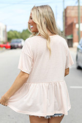 Knit Babydoll Top in Blush Back View