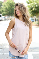 Front Pocket Tank in Blush Front View