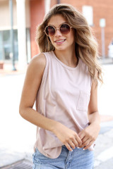 Model wearing a Front Pocket Tank in Blush with sunglasses