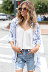 Blue - Striped Oversized Blouse from Dress Up
