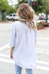 Striped Oversized Blouse Back View