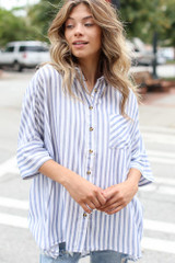 Striped Oversized Blouse Front View