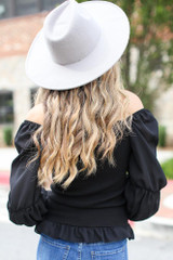 Smocked Statement Sleeve Top in Black Back View