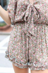 Close Up of the Floral Tie-Front Romper