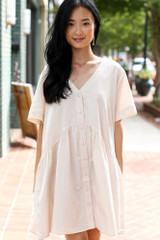 Ivory - Model wearing a Button Front Babydoll Dress