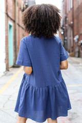 Button Front Babydoll Dress in Navy Back View